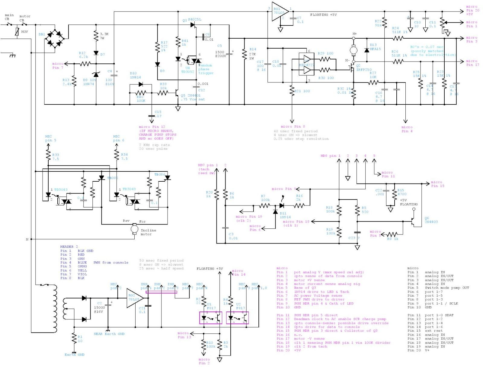 medium resolution of mc2100 treadmill motor control circuit and wiring at diagram