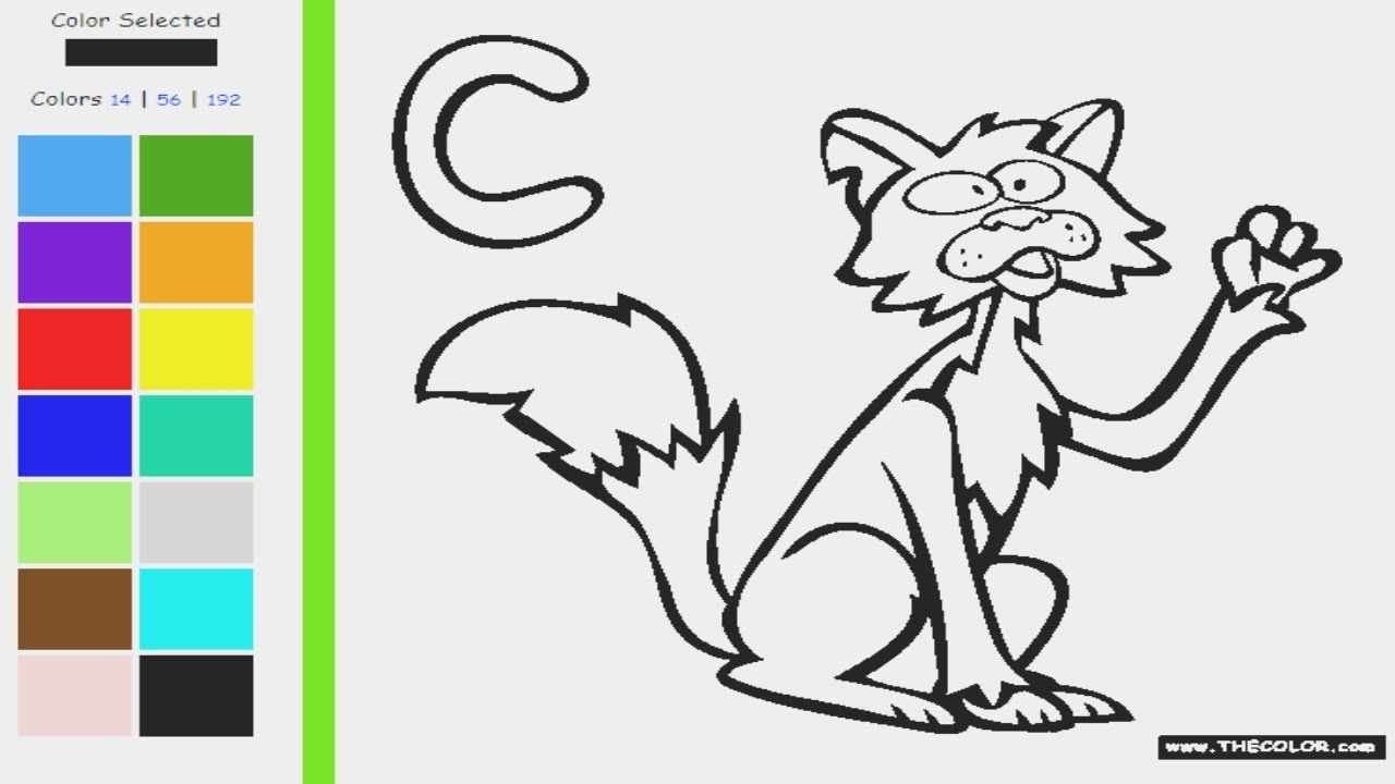 Uppercase Letter C Alphabet C Coloring Page C For Cat