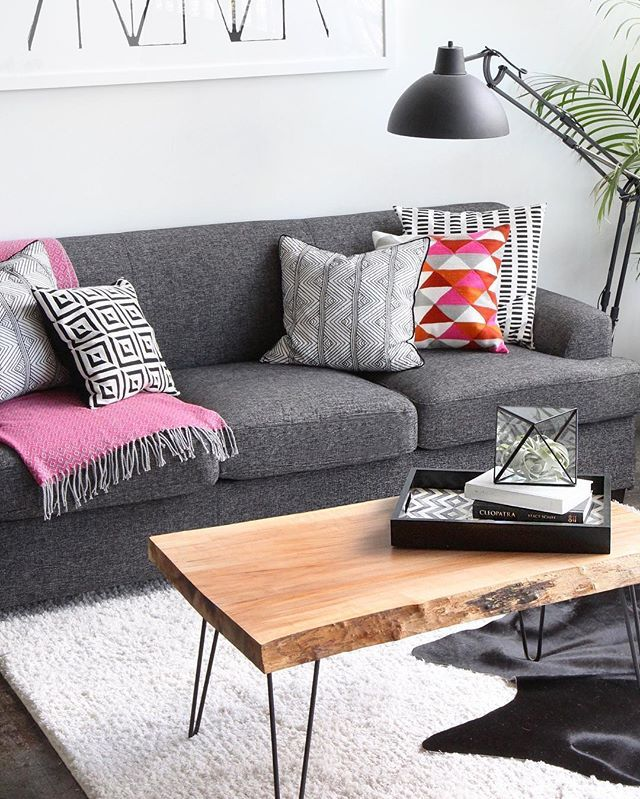 Jenni Radosevich Industrial Black White Apartment With West Elm DIY Coffee Table Wood From The Salvation Army