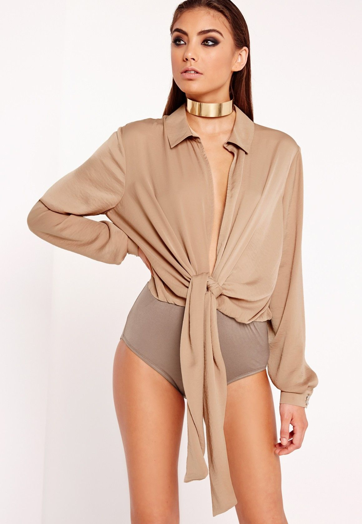 Khaki lace bodysuit  Missguided  Peace Love Tie Front Shirt Bodysuit Nude  Clothing and