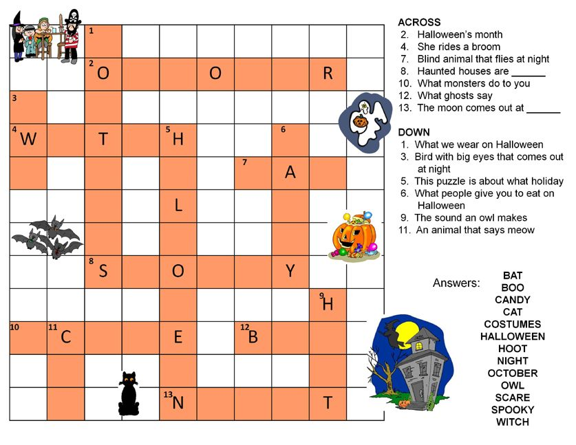 Halloween Crossword Puzzles To Print | Halloween Crossword Puzzle