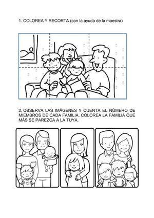 Resultado de imagen de fichas la familia prekinder for Tipos de familia pdf