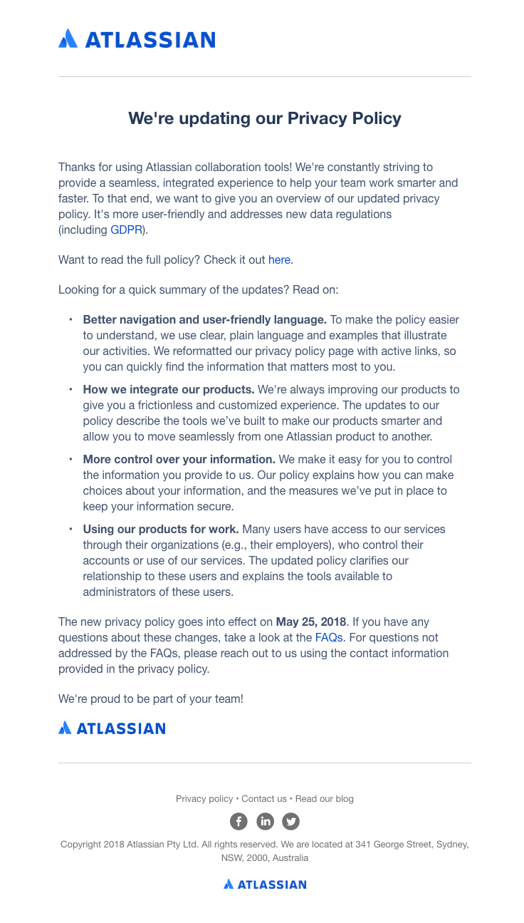 Atlassian Sent This Email With The Subject Line Updates To Atlassian S Privacy Policy Read About This Email And Find More Privacy Policy Best Email Policies