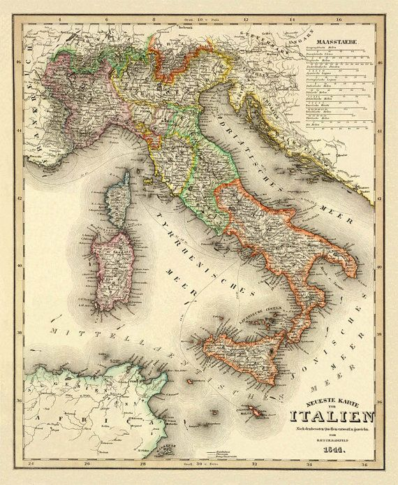 Italy Map Wall Map Antique Map Print Vintage Map Of Italy