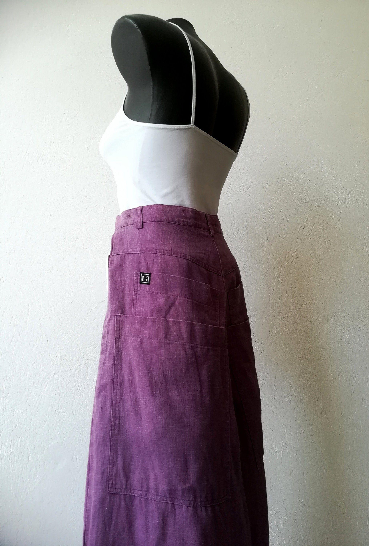 ART Ateliers Rare Toggery Skirt-pants from Linen Wide Leg Pants Skate Pants Maxi Pants With Pockets High Waisted Pants Palazzo Pants