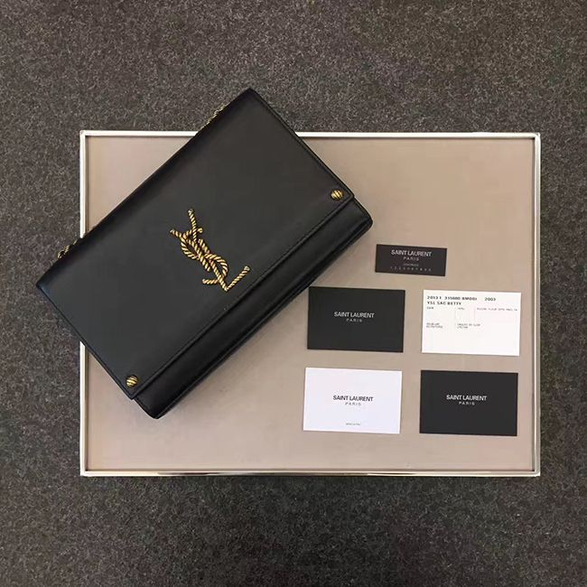 926657d4b1 ysl kate rope logo and chain medium bag black calfskin leather  ysl medium  kate black