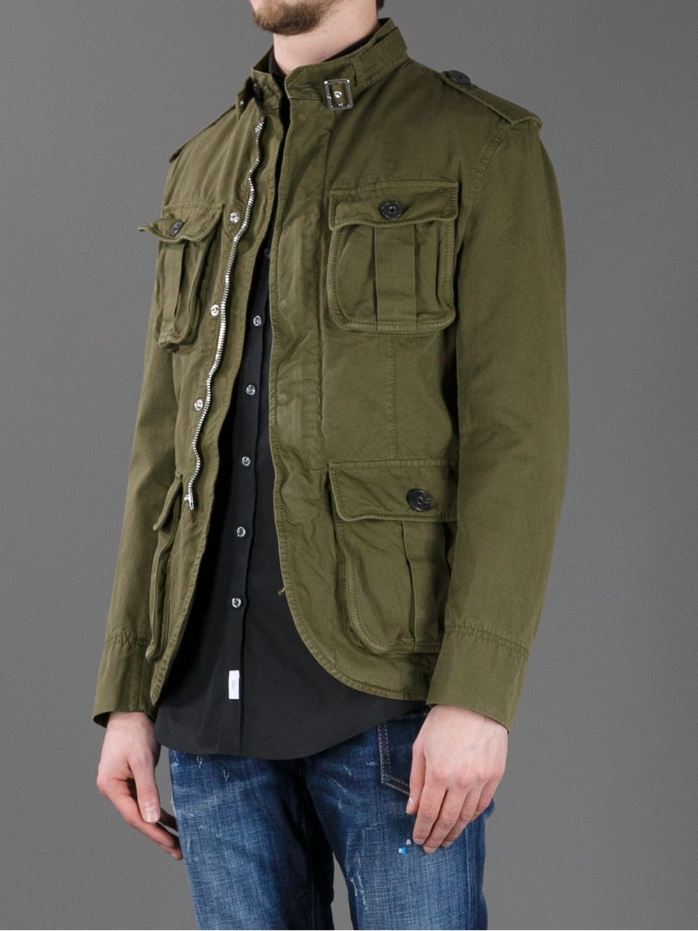 5f34100bd336 Dsquared2 Military Field Jacket - Dante 5 Men - farfetch.com ...