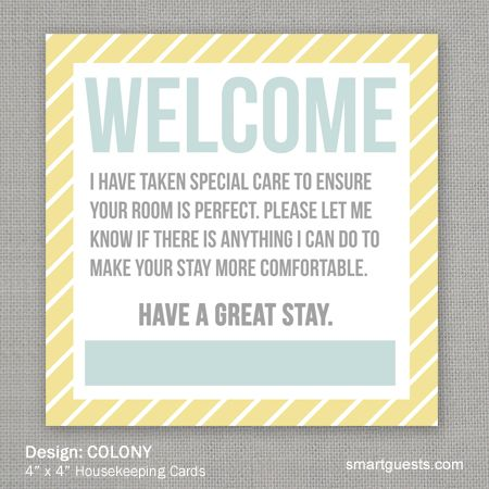 Housekeeping Squares Housekeeping Hotel Services Welcome Card