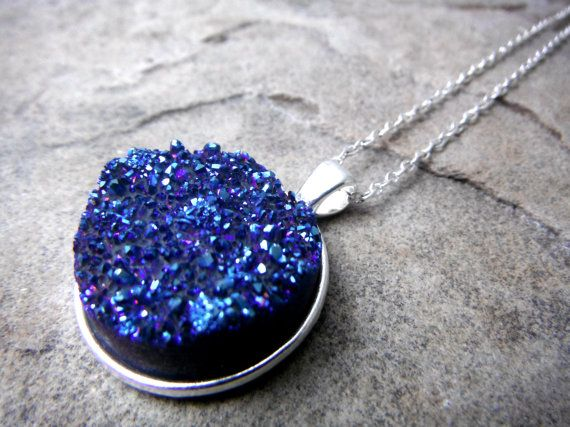 Large Blue Druzy Necklace Druzy Pendant Necklace by CaravanOfBeads, $48.00