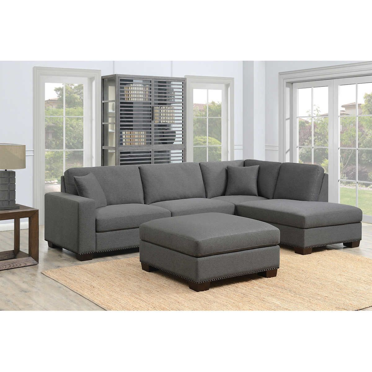 Thomasville Artesia 3 Piece Fabric Sectional With Ottoman Fabric