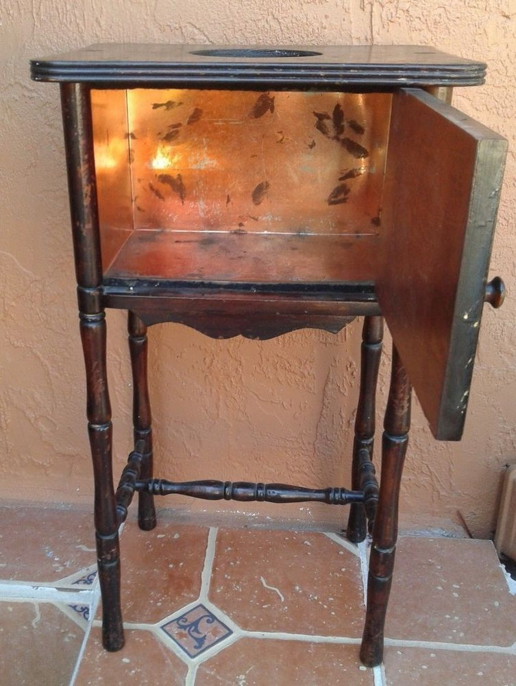 Genial Antique Cigar/Smoking Stand Copper Lined Humidor Cushman Furniture Vermont  As Is