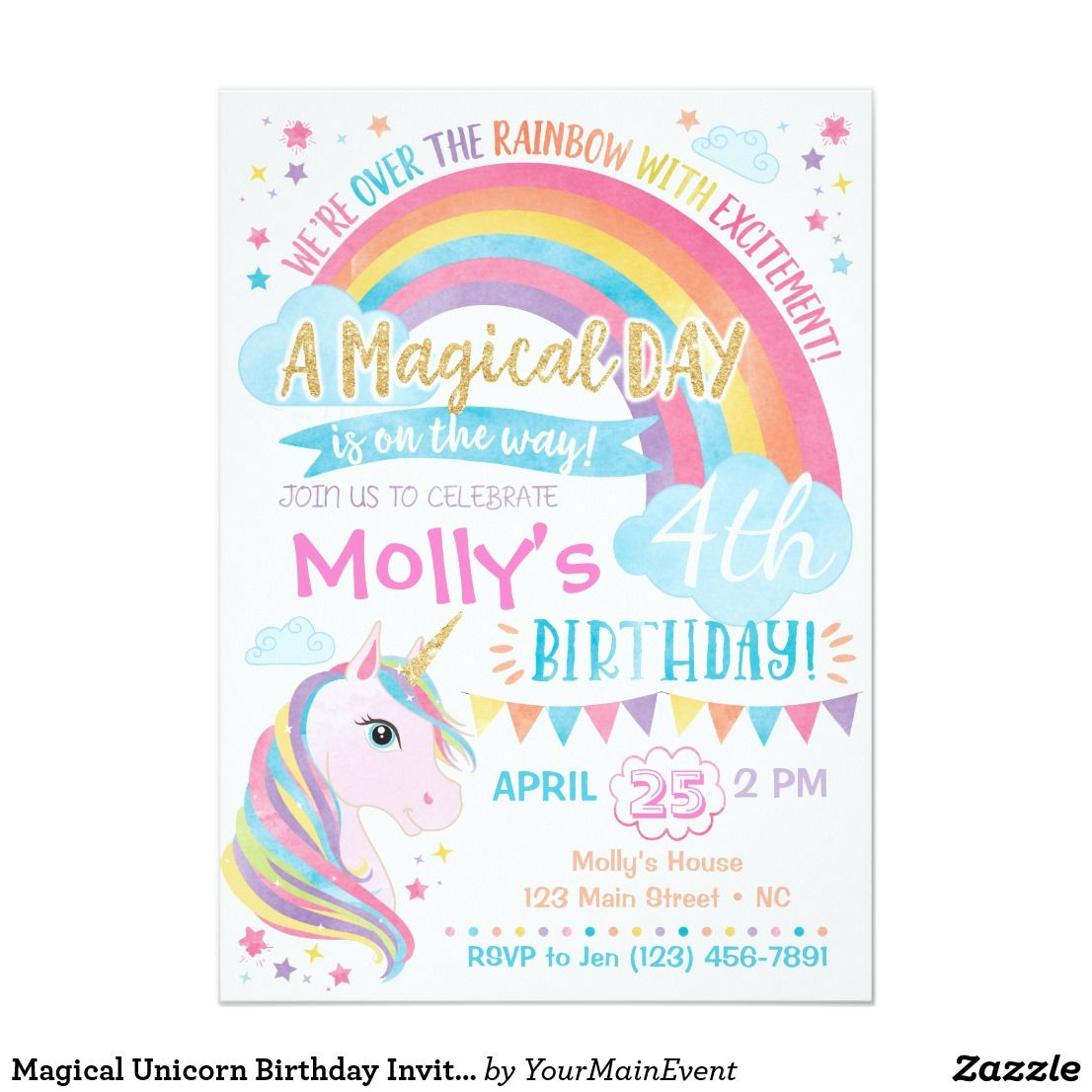 Magical Unicorn Birthday Invitation Rainbow Invite For Party Theme Ad