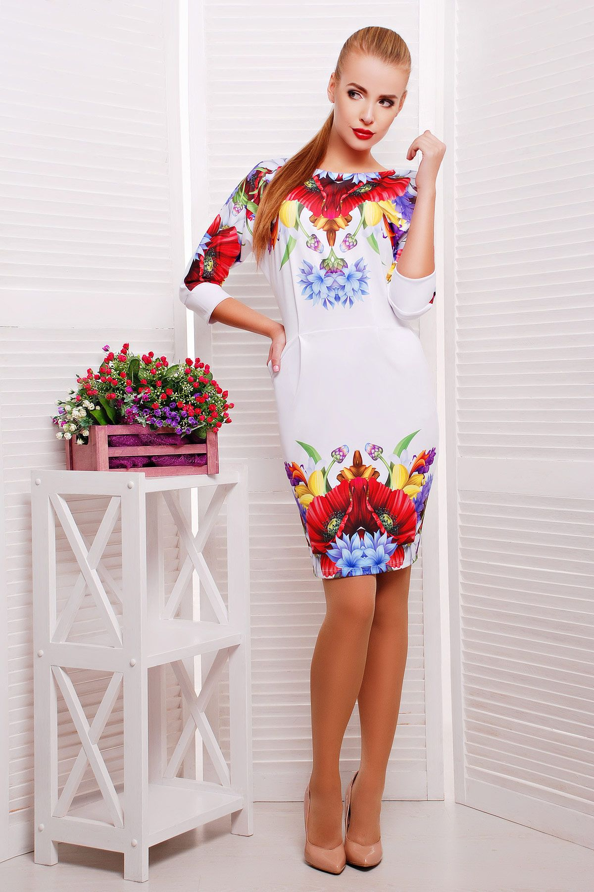 Белое платье с цветами Маки платье Эльза д р. Цвет  принт   Женские ... f9954761733