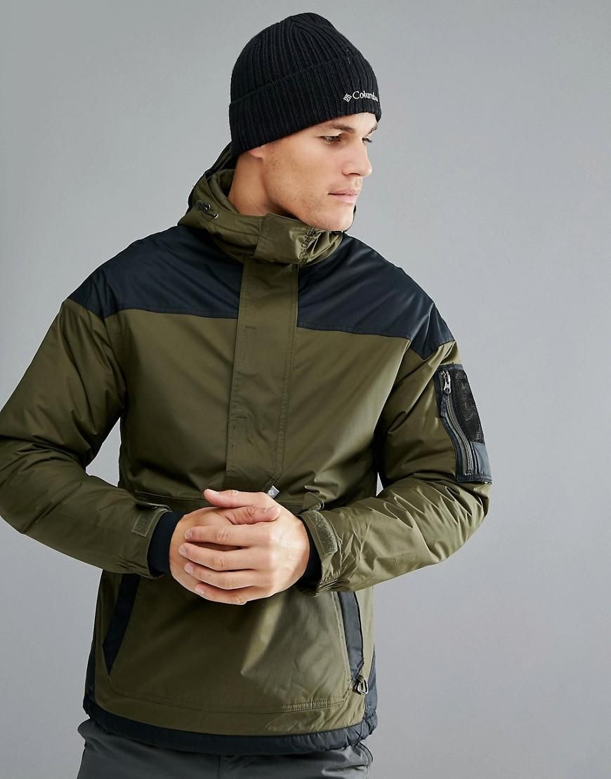 5d3321b1899da  ASOS -  Columbia Columbia Challenger Pullover Jacket Hooded Insulated in  Green Black -