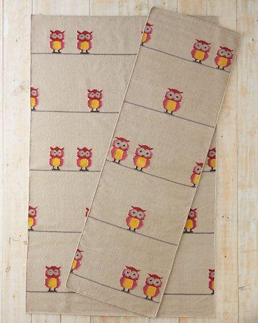 Owl Flat-Weave Wool Rug