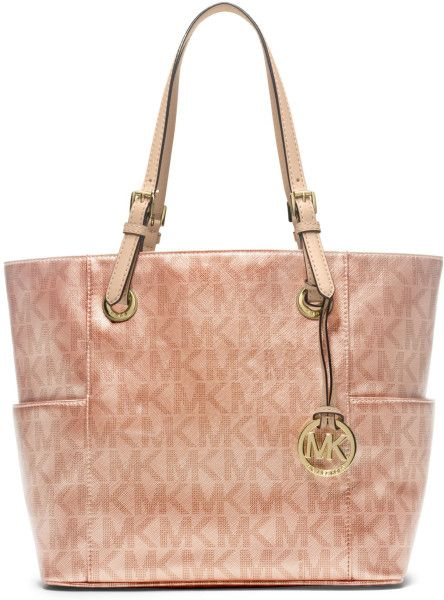 Rose Colored Michael Kors Tote Signature Metallic East West In Pink Gold