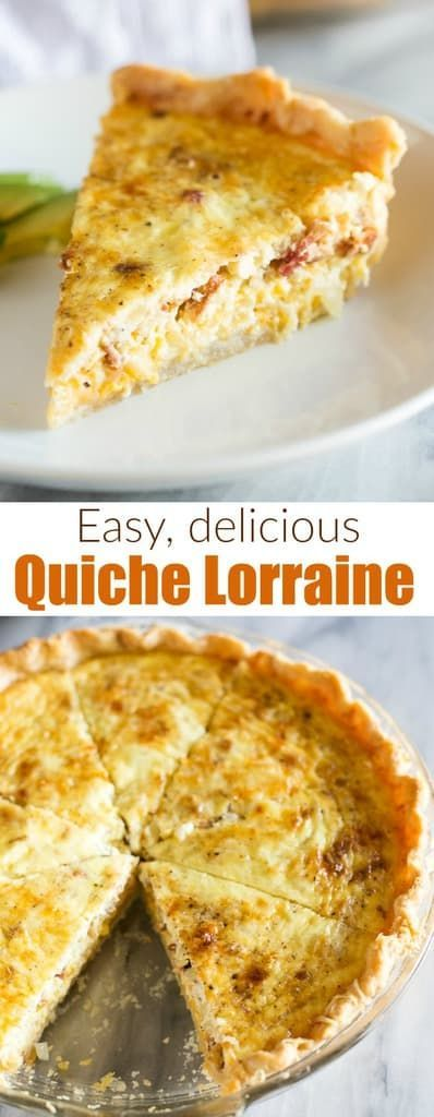 An easy Quiche Lorraine recipe made with cheddar, swiss, parmesan cheese, and bacon served in a flaky pie crust. Inspired by Julia Child's Quiche Lorraine. #quichelorraine #easy #recipe #quiche #juliachild via @betrfromscratch