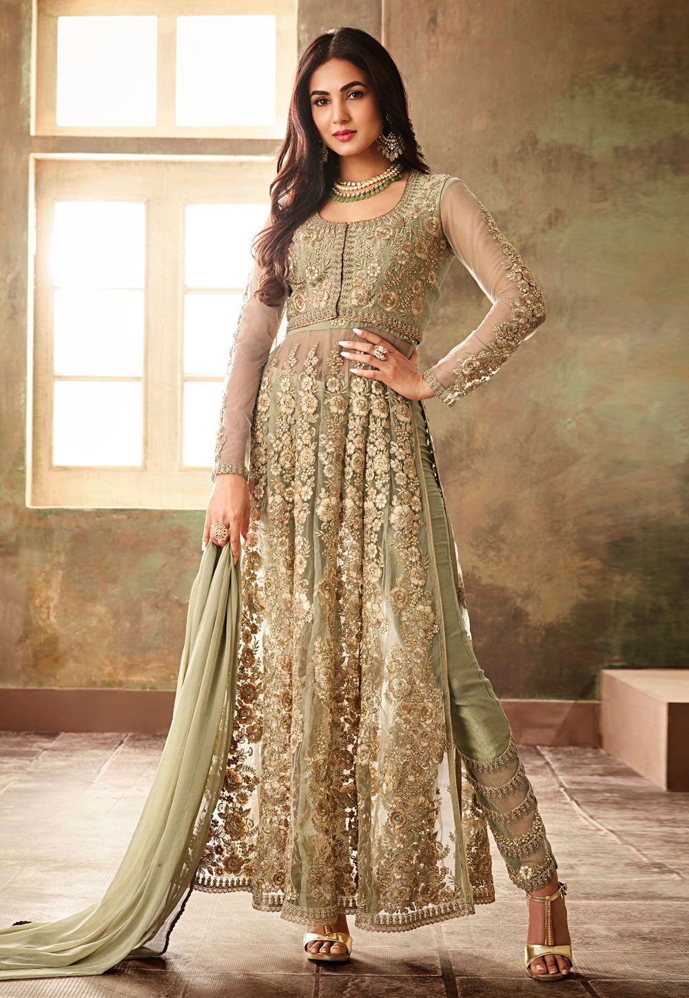 5a1d1a5c46 Buy Sonal Chauhan Pista Green Net Pant Style Suit 157226 online at lowest  price from huge