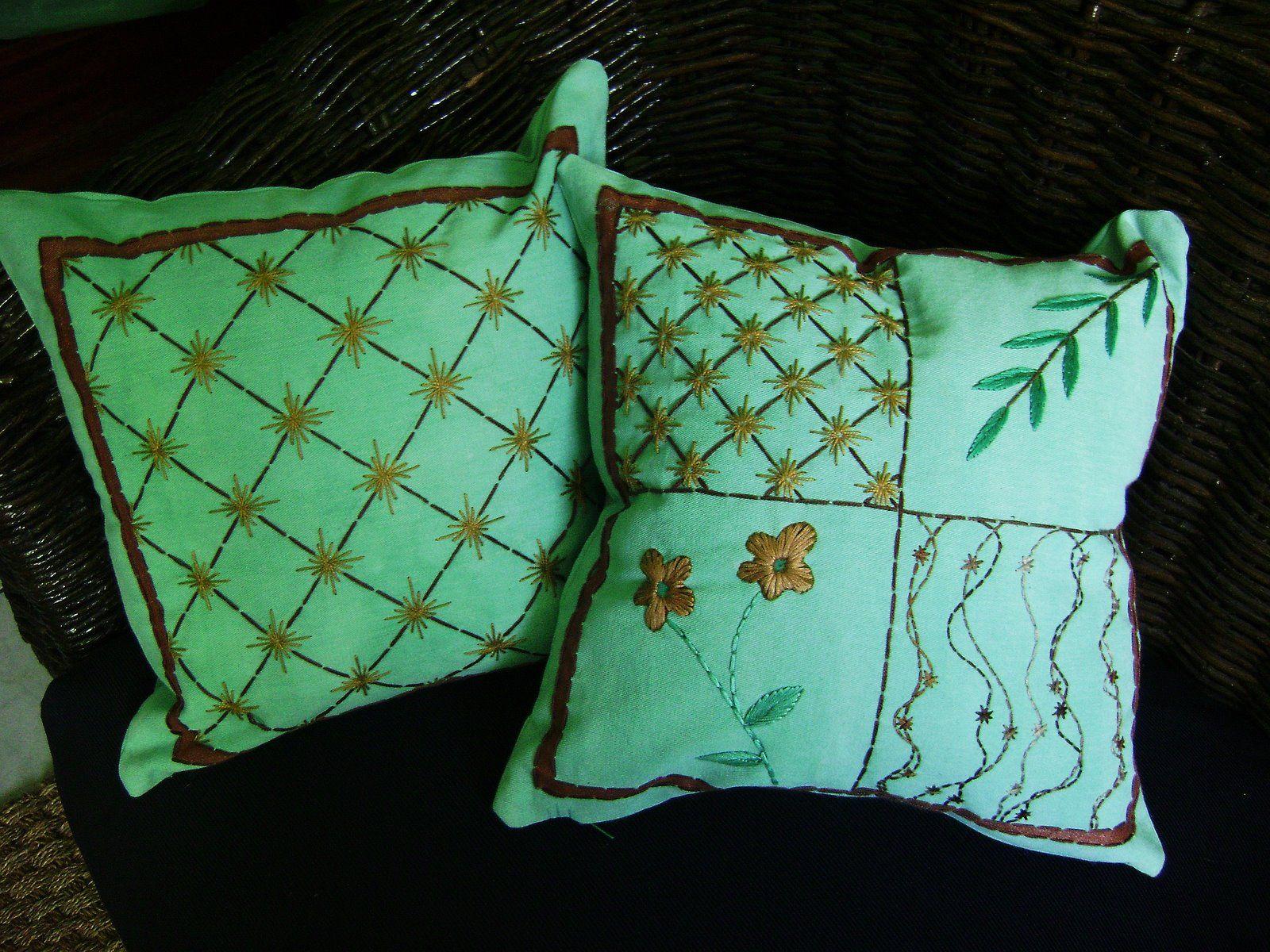 Jardim Bordado: almofadas bordadas a mão