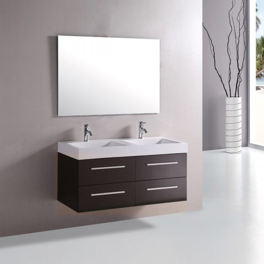 48 Inch Wall Mounted Double Espresso Wood Bathroom Vanity Include White Integr Floating Bathroom Vanities Contemporary Bathroom Vanity Modern Bathroom Vanity