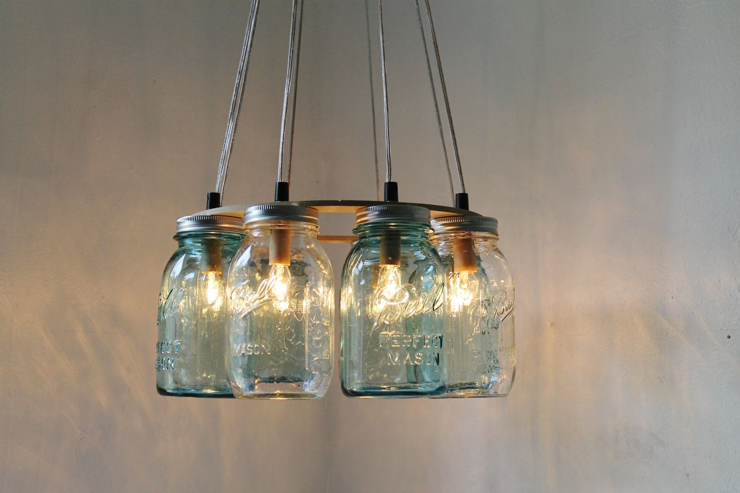 Modern country mason jar chandelier upcycled hanging for Country lighting fixtures for home