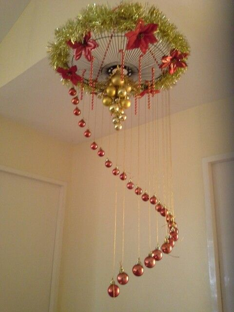 DIY christmas chandelier using an electric fan cover. My mom made ...