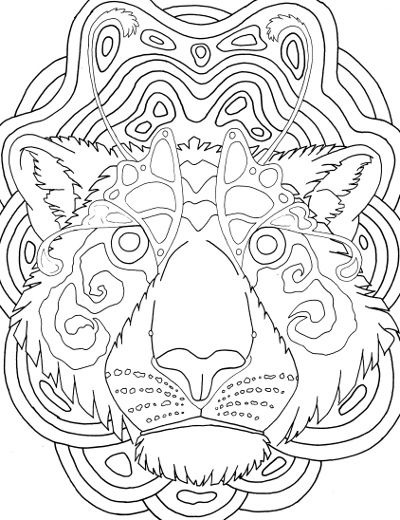 Tiger Mandala Coloring Sheet For Adults Zen Tangle Butterfly Wing Eyes Surreal Art To Color