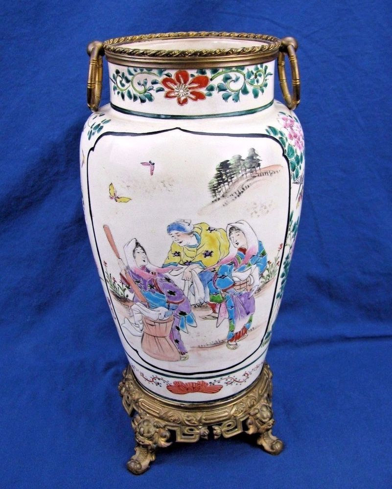 Meiji period antique japanese vase mounted on bronze stand 12h meiji period antique japanese vase mounted on bronze stand 12h reviewsmspy
