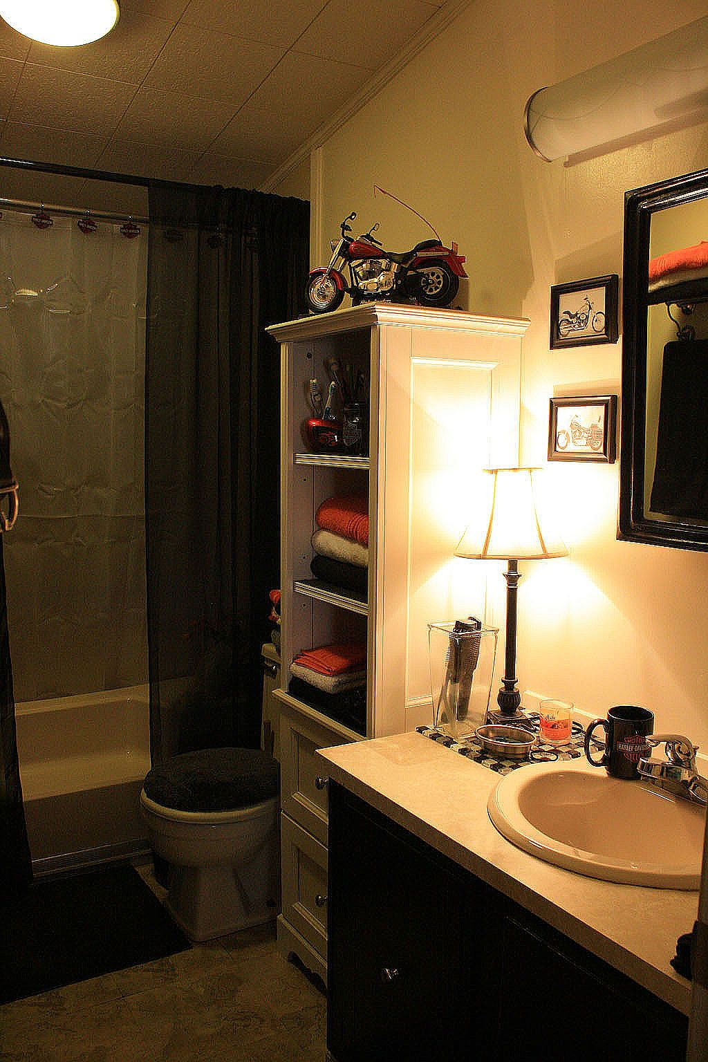 Harley Davidson bathroom on a budget. Even the light fixtures were ...