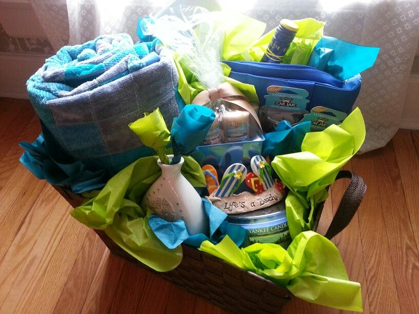 Beach Themed Gift Basket Contains A Bag Cooler Tote Two Towels Candles And Fragrance Air Fresheners Flip Flop Candle Holder