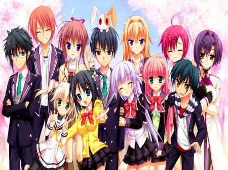 Hanging out with your friends - Other & Anime Background ...  |Anime Group Of Friends Boys And Girls