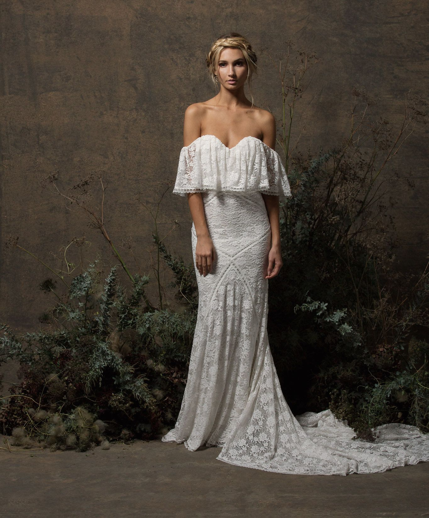 a2508b9bece1 lizzy-lace-dress-off-shoulder-rustic-boho-wedding-dress -with-panels-and-long-train