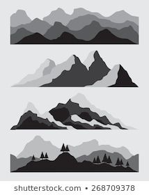 Set Hand Drawn Landscape Silhouette Mountain Stock Vector (Royalty Free) 631440215