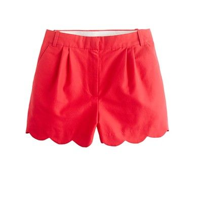 scalloped red hot shorts