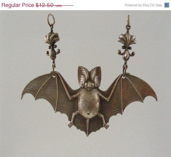 ON SALE - Bat Pendant and Fleur De Lis Vintage Brass - Large for Necklace - Brass Stamping - Handmade