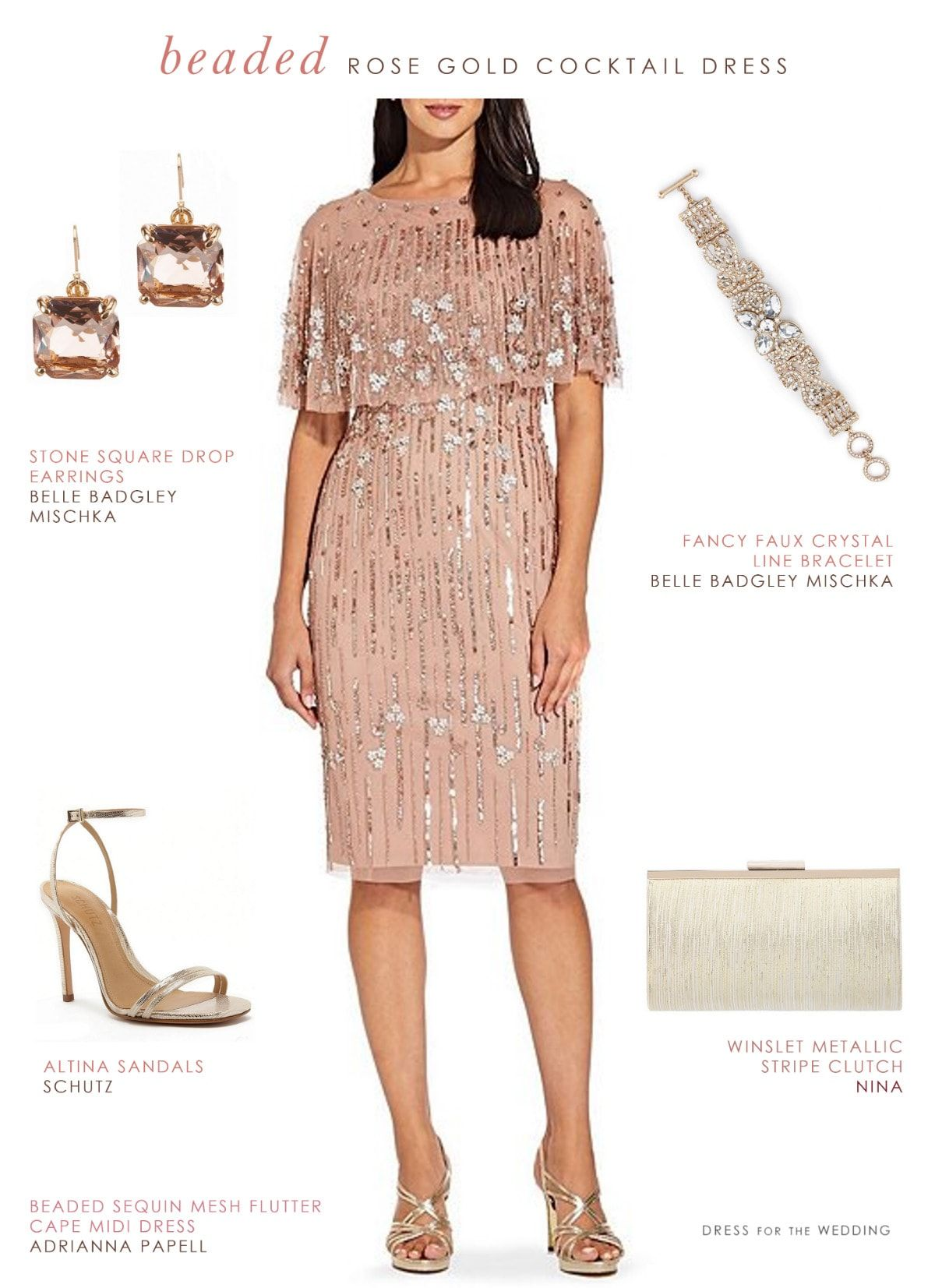Rose Gold Beaded Cocktail Dress Dress For The Wedding Rose Gold Cocktail Dress Beaded Cocktail Dress Cocktail Dress Wedding