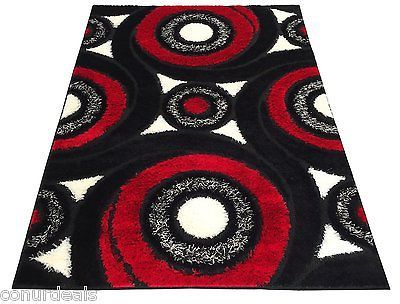 Black White Red Grey Swirl Shags Shag Area Rugs Shaggy Rug 3x5 3x7 .