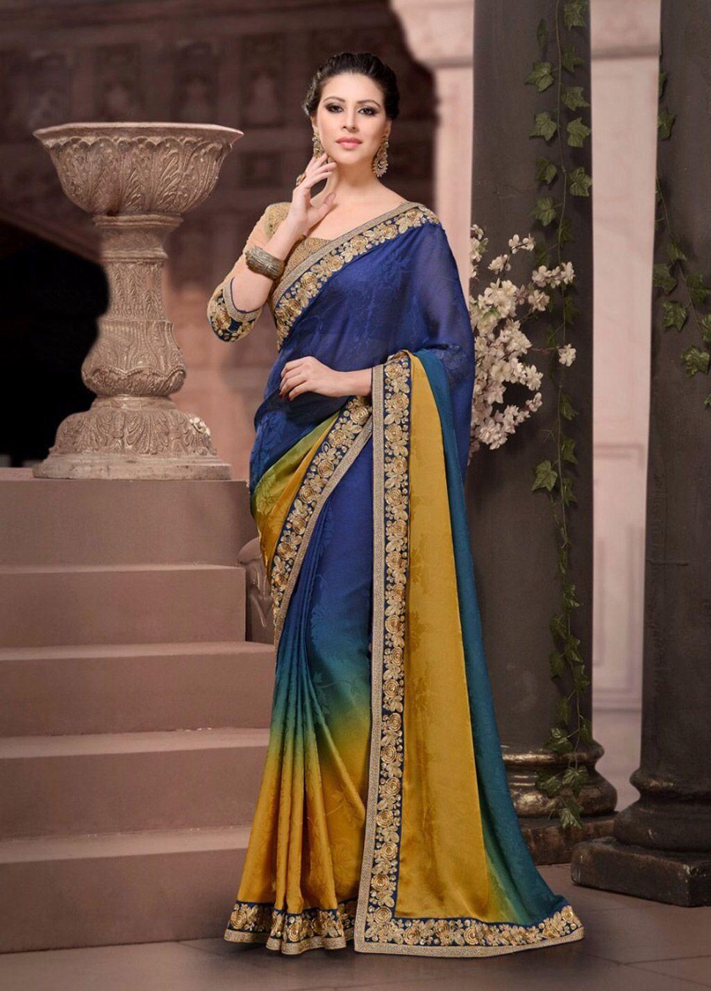 Blue Satin Jacquard Party Wear Saree