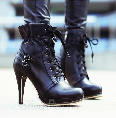 Concise Round Toe Genuine Leather Lace-Up Short Boots