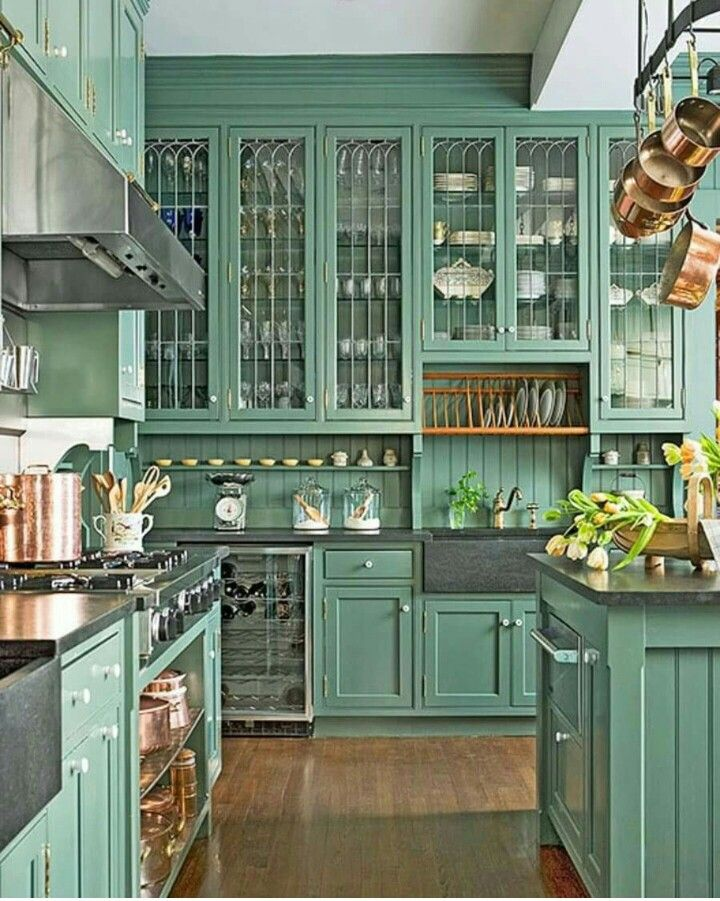 Via One Kings Lane Better Homes And Gardens Dark Green Kitchen Home Kitchens Kitchen Inspirations