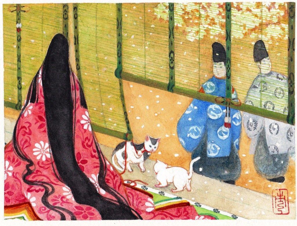 猫が引き起こした大事件 源氏物語 と源氏絵 猫 絵 イラスト 十二単 イラスト