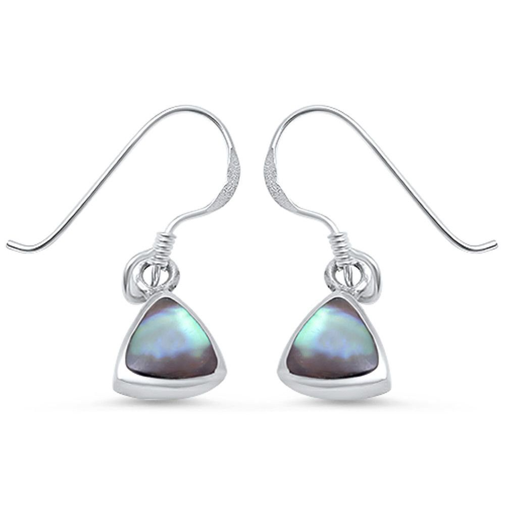 "Trendy Fashion 1"" Long Dangling Green Abalone Inlay Trillion Triangle Earrings Fish Hook Earrings Solid 925 Sterling Silver"