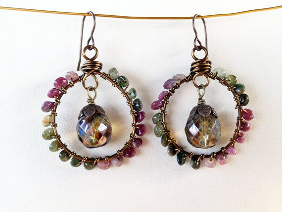 Napa Earrings  Wire Wrapped Tourmaline by SweetSageJewelry on Etsy, $30.00