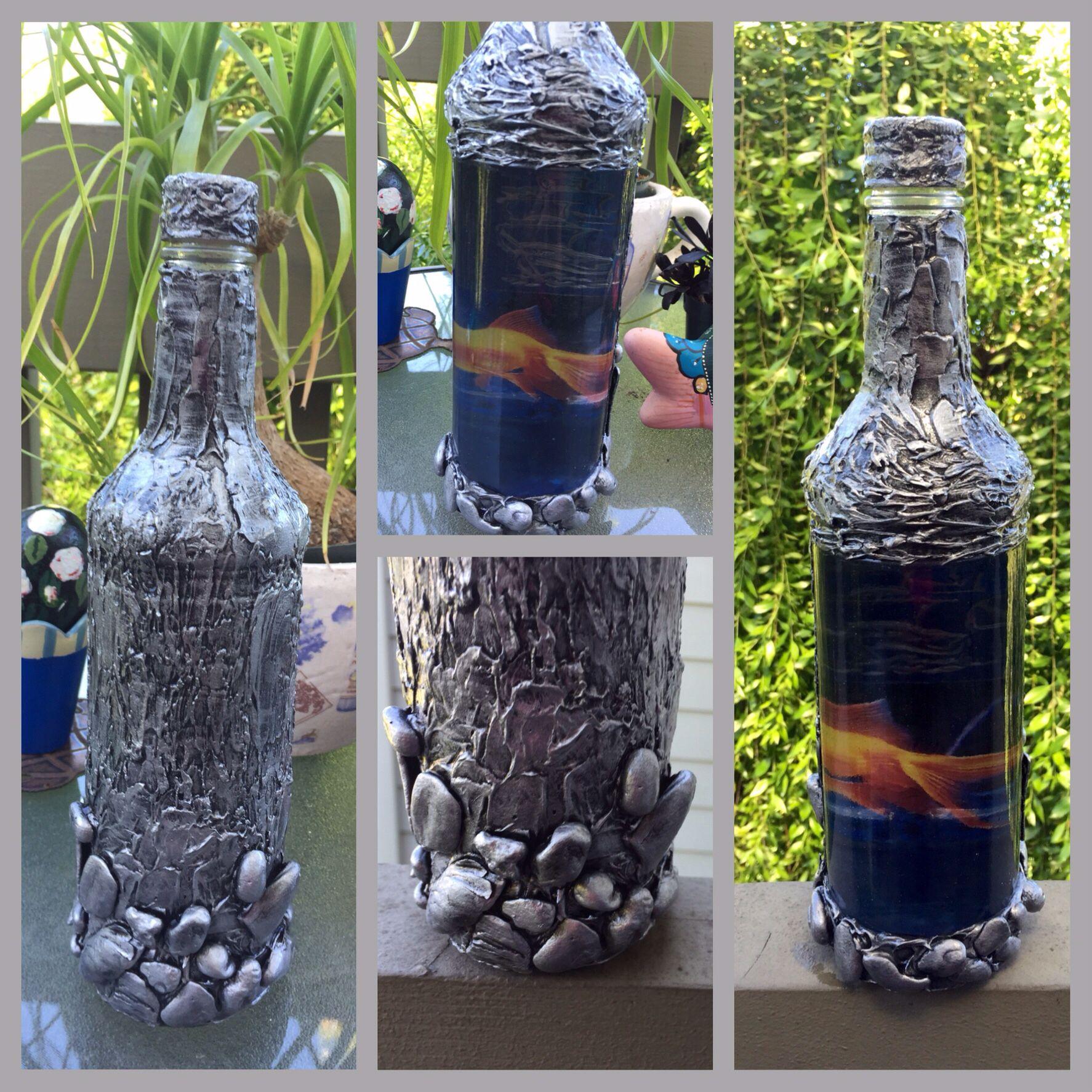 Natalya Vernikova Decoupage Bottle Created By Me Gold Fish, Reverse