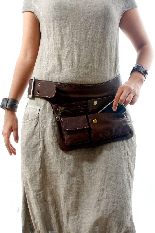 Brown Leather Hip Bag Pack Travel Pouch Belt Pocket