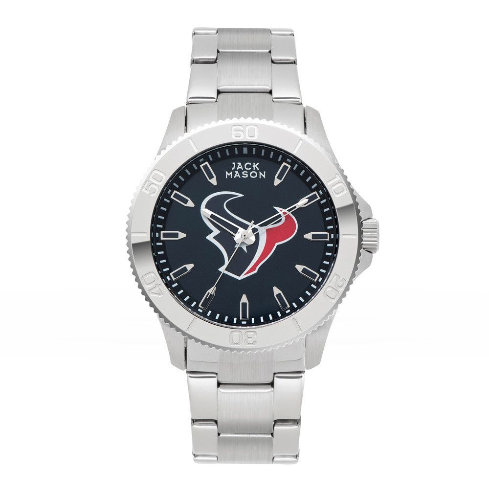 Houston Texans Stainless Sports Watch w/ Navy Dial