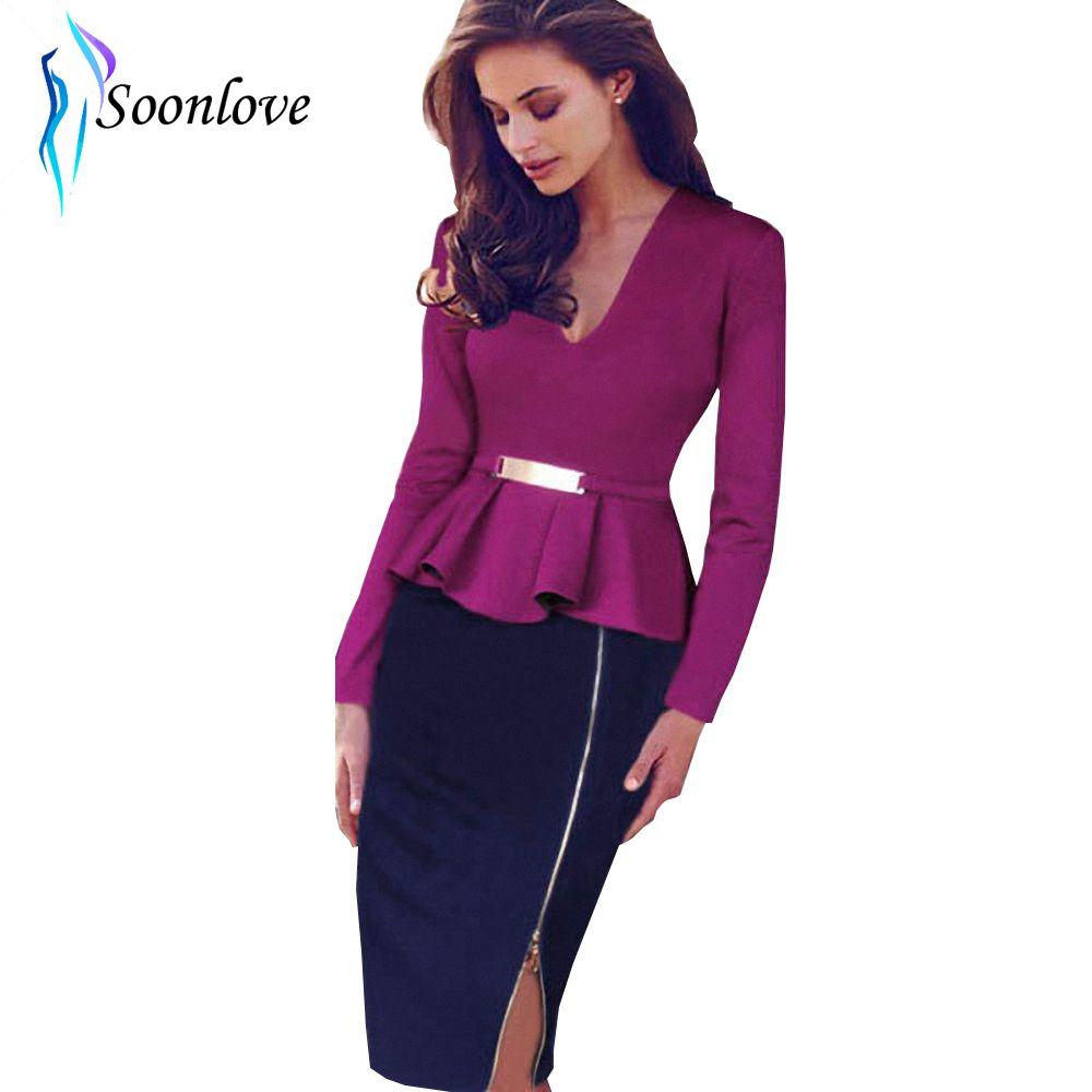 Elegant Full Sleeve V-Neck Color Block Zipper Women Fashion Dress Clothes Knee Length Dress L36016-1