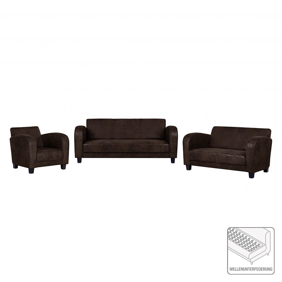Canape Panoramique Tullow 3 2 1 Braunes Sofa Niedriger Couchtisch Mobel Kaufen