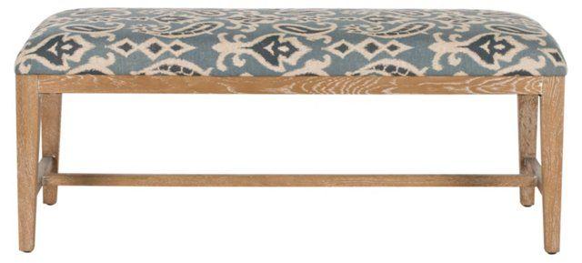 Superb Linen Ikat Bench Blue White Shopping Bench Furniture Inzonedesignstudio Interior Chair Design Inzonedesignstudiocom