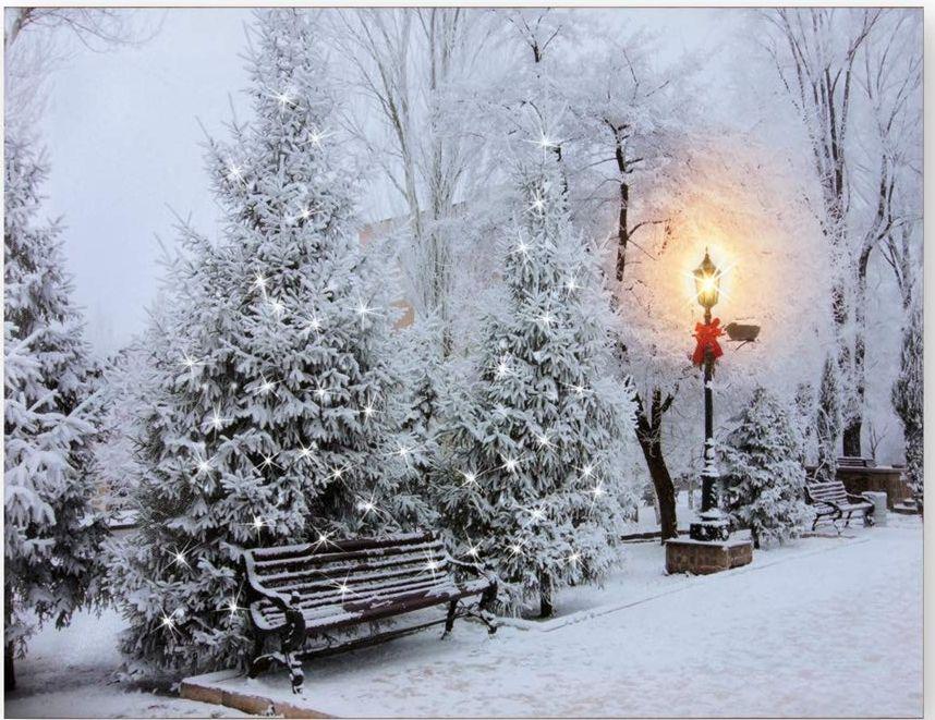 Lighted winter snowy park scene print canvas art